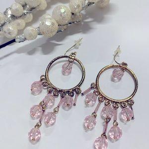 Pink & Gold Tone Earrings